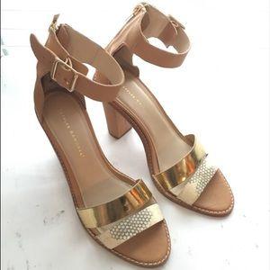 "Loeffler Randall stack 4"" heel nude leather sandal"